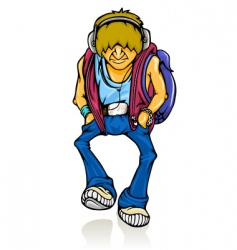 Walking modern young teenager vector