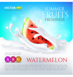 Watermelon slice falling in milk or yogurt splash vector