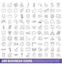 100 business icons set outline style vector