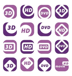 Color movie icons vector