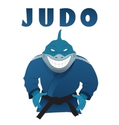 Shark judo fighter in kimono vector