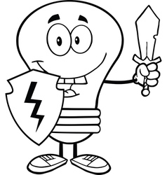 Light bulb with sword and shield vector image