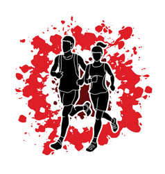 Man and woman running together marathon runner vector