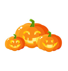Three smiling laughing grinning pumpkin jack-o vector