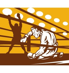 Boxer down on his hunches after a knockout vector image