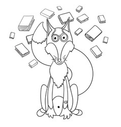 Cute cartoon clever fox in glasses which loves to vector