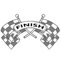 Cartoon black and white crossed racing flag vector