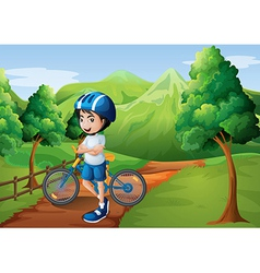 A boy standing in the middle of the pathway with vector