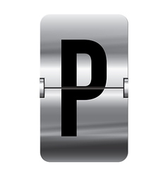 Alphabet silver flipboard letters p vector image