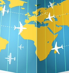 Airplanes flying over the world map vector image