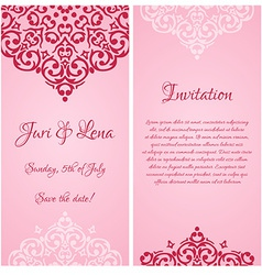 Baroque damask wedding invitation banners with a vector