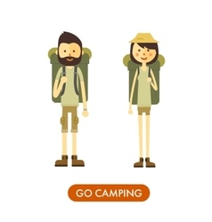 Flat cartoon couple with hiking equipment isolated vector