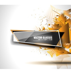 Glass banner with abstract shape and glossy effect vector
