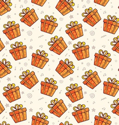 Pattern of many red gift boxes with bows on light vector