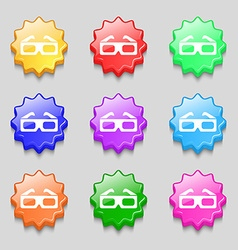 3d glasses icon sign symbol on nine wavy colourful vector
