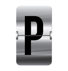 Alphabet silver flipboard letters p vector