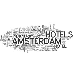 Amsterdam hostels text word cloud concept vector
