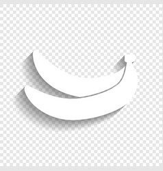 Banana simple sign white icon with soft vector