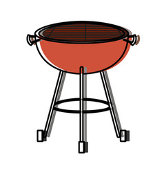 Bbq grill front view watercolor silhouette vector