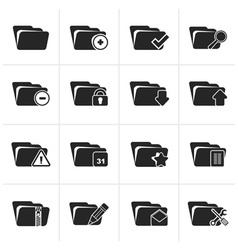 Black Different kind of folder icons vector image vector image