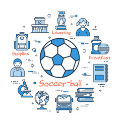 blue round soccer ball concept vector image
