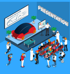 Car presentation isometric composition vector