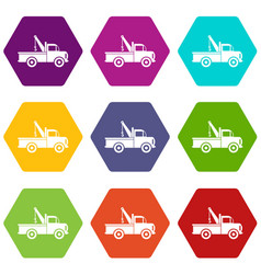 car towing truck icon set color hexahedron vector image vector image