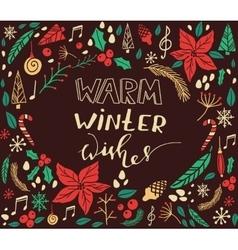 Christmas card with fir tree vector