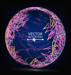 color lines sphere composition glowing vector image vector image