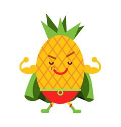 Cute cartoon smiling pineapple superhero in mask vector