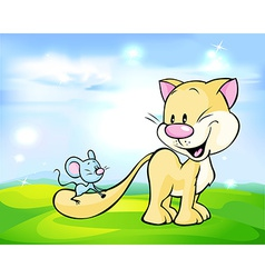 cute cat play with mouse on green meadow vector image vector image