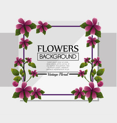 Cute flower frame decorative background vector