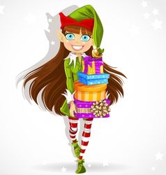 Cute girl the new years elf gives gifts vector