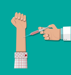 Doctor hand with syringe vaccination of patient vector