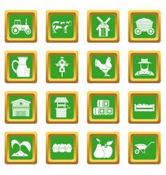 Farm icons set green vector