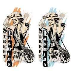 Fashion models in sketch style labels vector