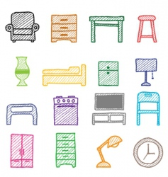 hand drawing furniture icons vector image