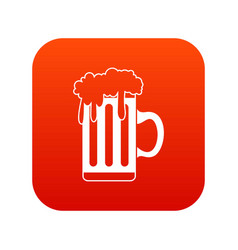 mug with beer icon digital red vector image vector image