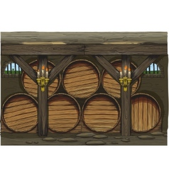 old wine barrels vector image
