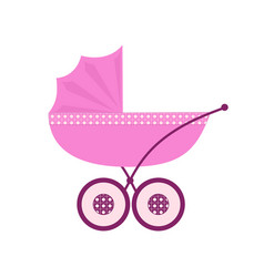 Pink baby carriage for newborn baby vector