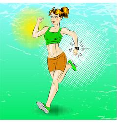 pop art of sporty girl running vector image