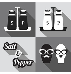 Salt and pepper containers and icons set vector