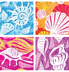 Seamless shell pattern vector