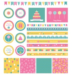 Set of birthday design elements vector