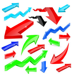 set of colored arrows shiny 3d icons vector image vector image