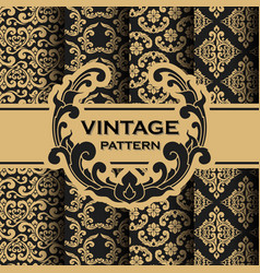 Set of vintage flourishes vine seamless pattern vector