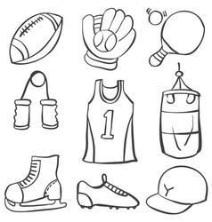 Sport equipment hand draw art doodles vector