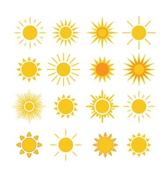 Sun icons set white vector