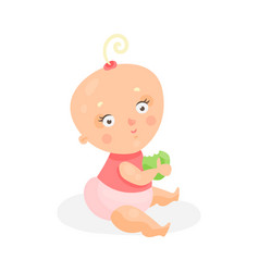 Sweet cartoon baby girl in pink cloth sitting and vector