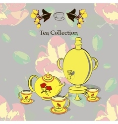 Tea set with samovar vector